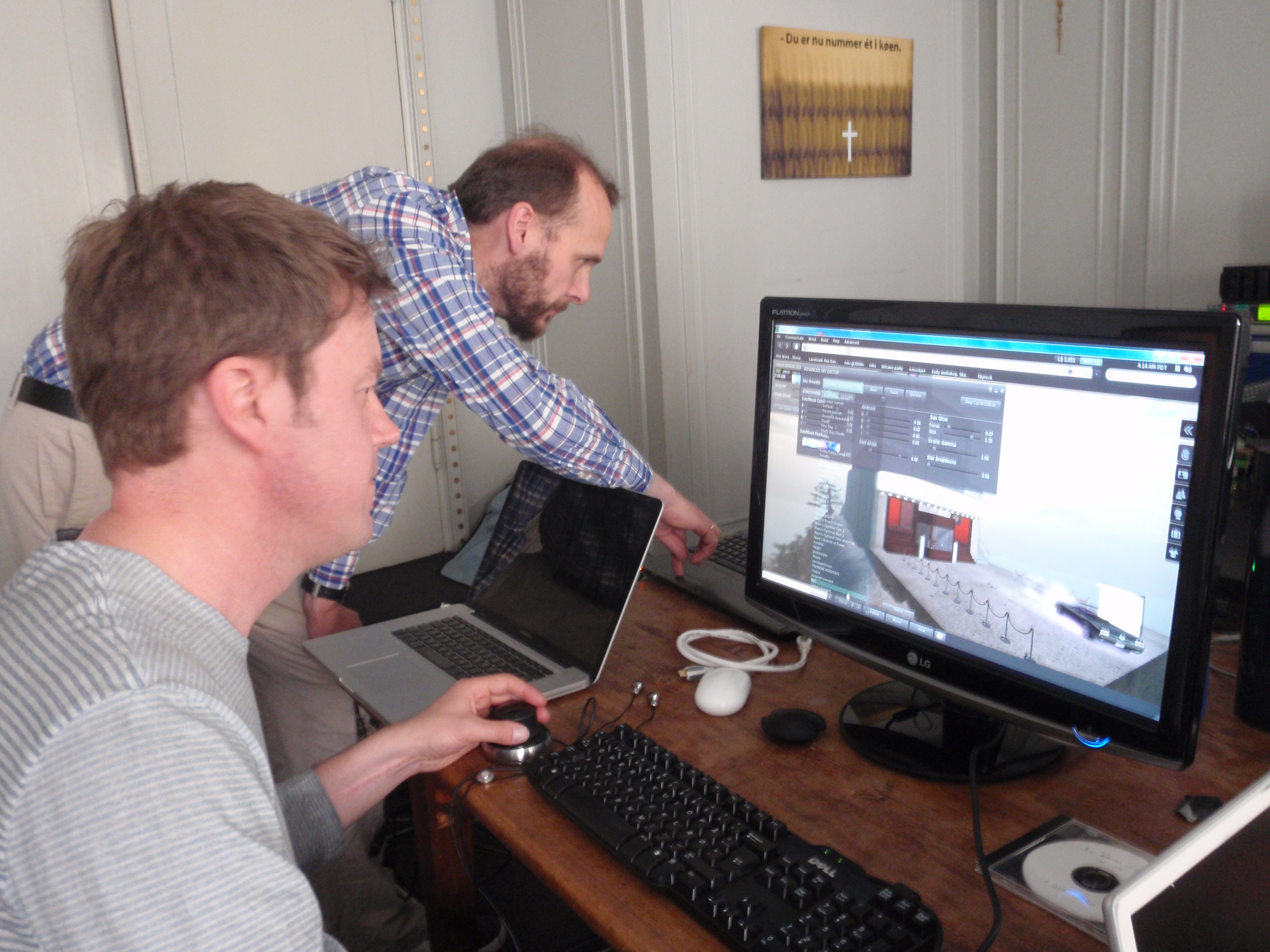 Rob Gould and Jeppe Raasthøj working on the SL/RL cinecast